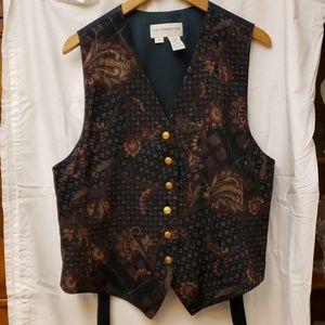 Liz Clairborne Collection Black FloralVest Size 16